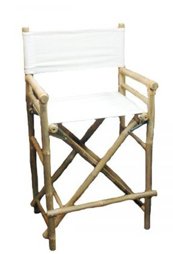(Tall  Bamboo Director Chair for bar counter, White Canvas, Set of 2)