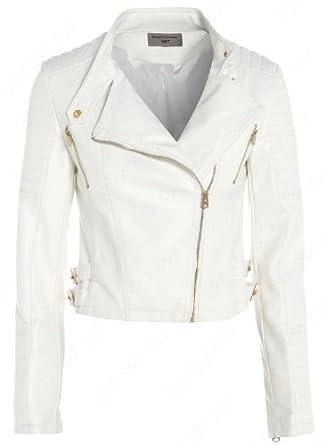 NEW Womens Biker Jacket Off White Faux Leather Size 8 - 16 (UK -12 ... 28dd73e153