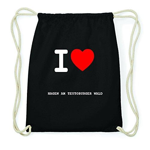 JOllify HAGEN AM TEUTOBURGER WALD Hipster Turnbeutel Tasche Rucksack aus Baumwolle - Farbe: schwarz Design: I love- Ich liebe