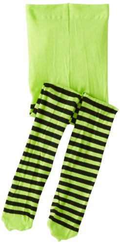 Jefferies Socks Little Girls'  Stripe Tights, Lime/Black, 4-6 Years]()