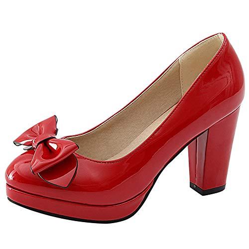 JOJONUNU Scarpe Donna Red Tacco Chunky qXXfwp1