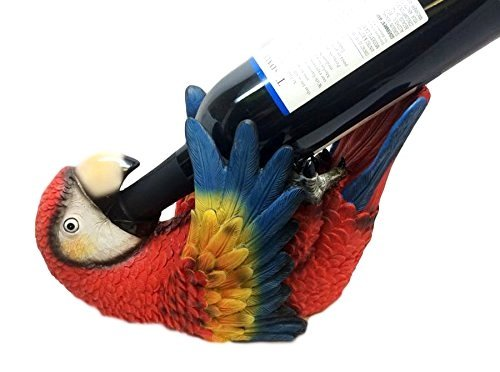 SCARLET MACAW PARROT BIRD WINE HOLDER OIL BOTTLE RESIN FIGURINE KITCHEN RAINFOREST DECOR