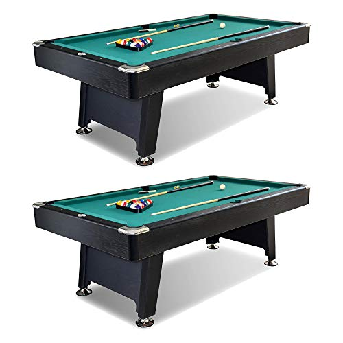 Drops Green Tablecloth Pool (Lancaster 90 Inch Arcade Game Room Billiard Pool Table with Balls and Cue, Green (2 Pack))