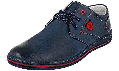 Cuir Bleu Classic Lacets Chaussures Polbut Marine Homme 343 À H0xWUwtq