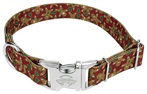 Country Brook Petz | Gingerbread Premium Dog Collar - Christmas Collection with 13 Designs (Large)