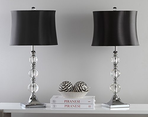 Safavieh Lighting Collection Maeve Crystal Ball 28-inch Table Lamp (Set of 2) (Black Lamps Set Of 2)