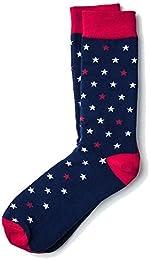 Best Discount Men Patriotic Home Of The Brave Stars Red White Blue Crew Dress Socks