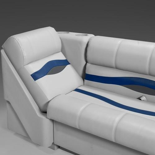 (DeckMate Premium Right Pontoon Lean Back Seat (Gray/Blue/Charcoal))