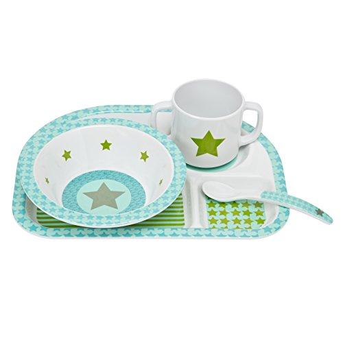 Lässig LDISHS169 Kindergeschirr Dish Set Melamin mit Rutschstopper, spülmaschinen geeignet, Starlight Olive
