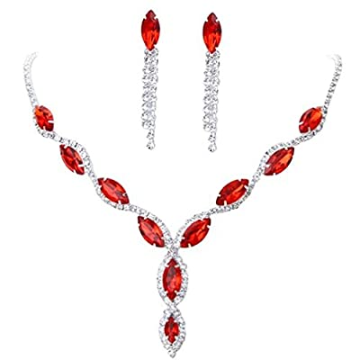 BOLY Womens Wedding Jewelry Crystal Rhinestone Diamond Gemstone Pendant Necklace Earrings (Set of 2) on sale