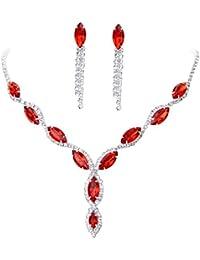 Womens Wedding Jewelry Crystal Rhinestone Diamond Gemstone Pendant Necklace Earrings (Set of 2)