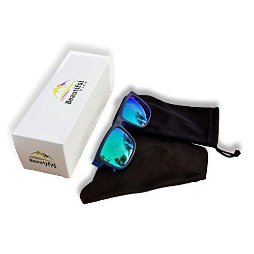 Retro Style Sunglasses – Polarized Lenses with UV400 Protection for both Men & Women (Black and Blue, - How Reduce Sunglasses Glare Do Polarized