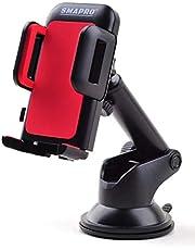 حامل جوال ذكي للسيارات، متوافق مع جميع الهواتف الذكية، للتثبيت فوق تابلوه السيارة أو على الزجاج، مع ذراع قابل للتمدد والإطالة، وقاعدة جلدية قوية مع تقنية الشفط لضمان التثبيت، أحمر، سمابرو