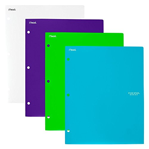 "Five Star 2 Pocket Folders, Stay-Put Tabs, Binder Folders with Pockets, 9-1/2"" x 11-3/4"", Assorted Colors, 4 Pack (38065)"