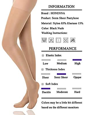 Reinforced Toe Shaping Pantyhose Control Top Semi Opaque Tights Hosiery