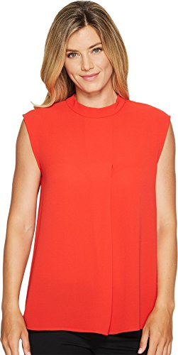 (Vince Camuto Womens Sleeveless Mock Neck Blouse w/ Front Fold Bright Crimson SM One Size)