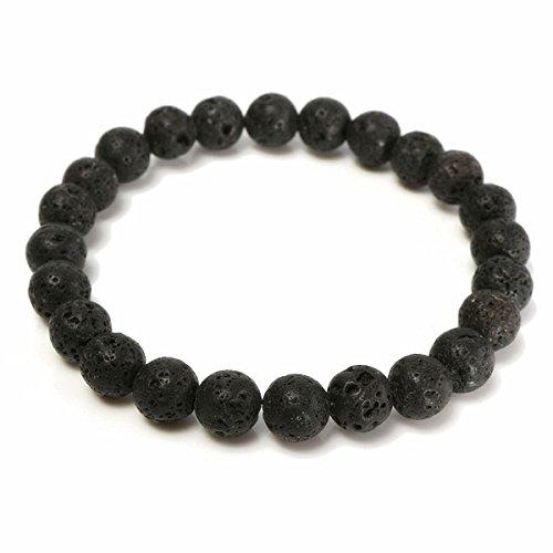 8mm Black Lava Rock Beads Elastic Bracelet For Men