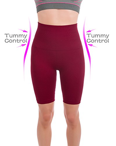 Homma Women's Tummy Control Fitness Workout Running Yoga Shorts (Medium, Burgundy)