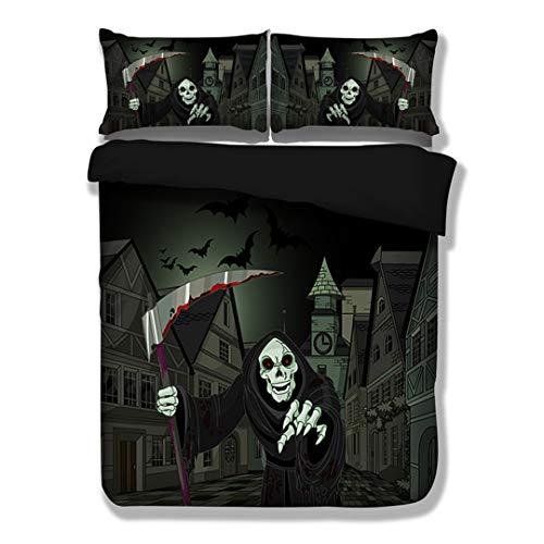 3D Halloween Grim Reaper Bedding Set HD Print Skull Black Duvet Cover Twin Full 3PCS Bedclothes AU Double 180X210CM -