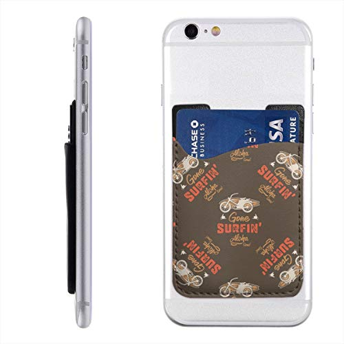 Surfing Car Pattern Vintage Hand Drawn Surf Wagon Phone Card Holder for Back of Phone, Stretchy Wallet Stick On Pocket Credit Card ID Case Pouch Compatible with All Smartphones