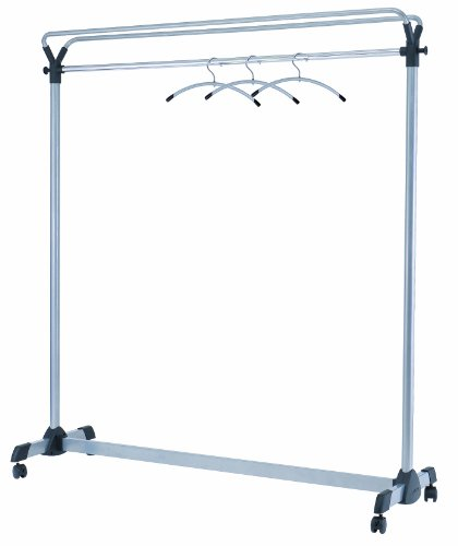 - Alba Double-Sided High Capacity Mobile Garment Rack with 3 Metal and Plastic Hangers, Steel with Black Accents (PMGROUP3)