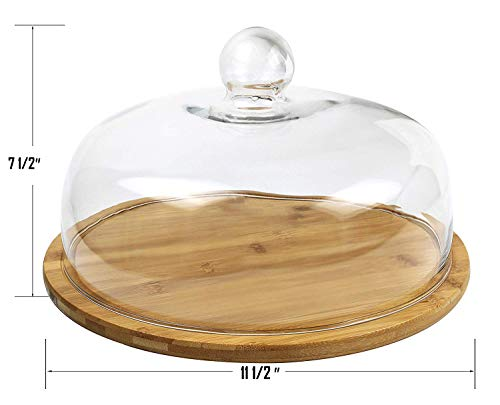 Royal Brands - Bamboo Cupcake Stand, Cake Holder, Dessert and Appetizer Round Centerpiece, Glass Dome Cloche Lid - Perfect for Holding Your Delicious Cakes and Food - (11.5