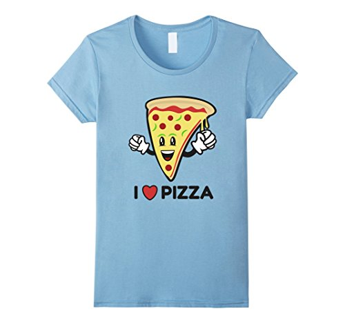Women's I Love Pizza T-Shirt I Heart Cartoon Character Pe...
