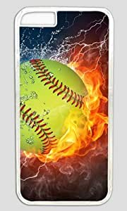 Popular Softball Fire and Ice DIY Hard Shell Transparent iphone 4 4s Case Perfect By Custom Service