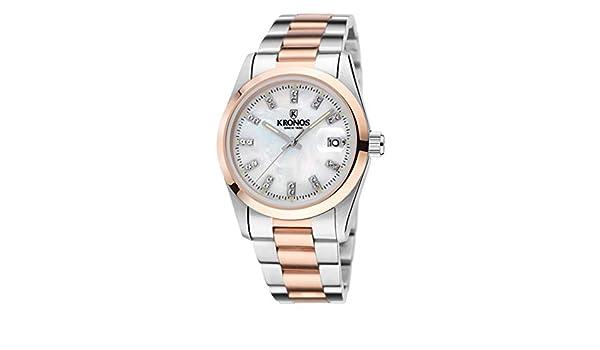 KRONOS - Elegance Bicolor Rose Zirconia 968.8.34ZR - Reloj de señora de Cuarzo, Brazalete de Acero, Color Esfera: Blanca: Amazon.es: Relojes