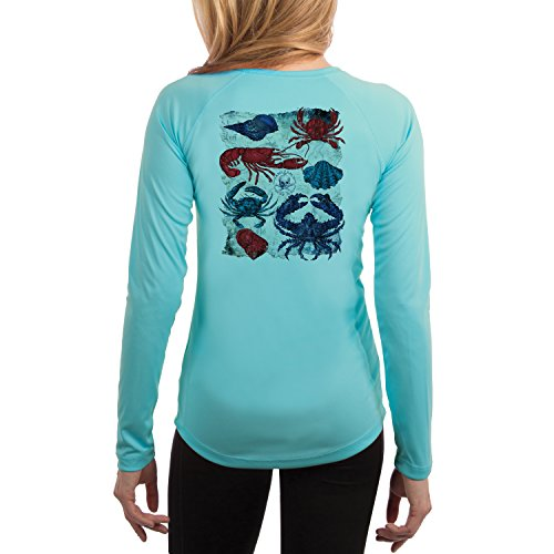 Vintage Crabs Women's UPF 50+ Long Sleeve T-Shirt Medium Water Blue ()