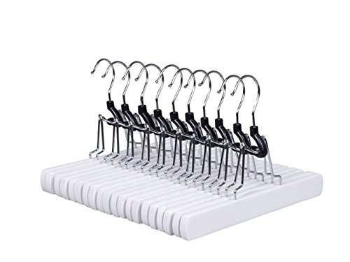 Amber Home Solid Gugertree White Wood Non Slip Collection Slack Hangers Wood Pant Hangers Wood Skirt Hangers Wood Clamp Hangers with Anti-Rust Hook Pack of 10