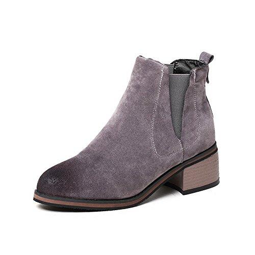 AllhqFashion Damen Ziehen auf Mittler Absatz Mattglasbirne Rein Rund Zehe Stiefel Grau