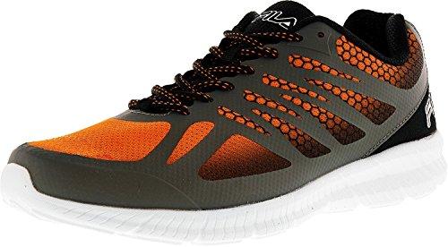 Fila Men's Memory Speedstride Running Shoe, Castlerock/Black/Vibrant Orange, 8.5 M US