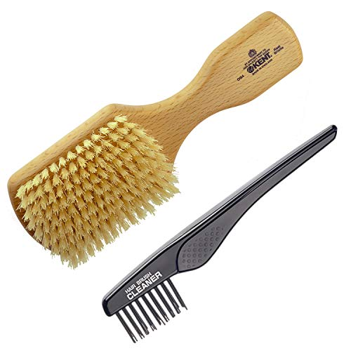 - Kent Finest Men's OG4 Rectangular Club Beech Wood Pure White Bristle Hair Brush + Kent LPC2 Hair Brush Cleaner - Best Hair Care Kit for Men, 360 Wave Brush, Encourages Hair Growth (OG4+LPC2)
