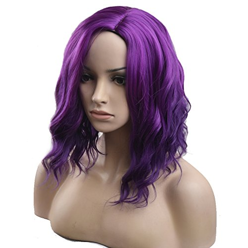 BERON Short Curly Bob Wig Charming Women Girls Beach Wave Wigs for Cosplay Costume Party Wig Cap Included (Mix Purple) by BERON (Image #2)