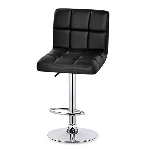 Price comparison product image afferty Swivel Armless Bonded Leather Soft Chairs Height-adjustable Barstool Chairs,  Set of 2(US STORE)