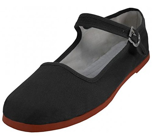 Easy USA Womens Cotton Mary Jane Shoes Ballerina Ballet Flats Shoes (8, Black 114)