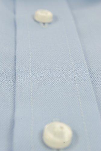 CHEMISE SANS REPASSAGE BLEU - HOMME - Un Tissu de Grande Qualité, 100% Coton - Sergé Bleu - Cintrée, Slim Fit - Manche Longue, Poignet Mousquetaire