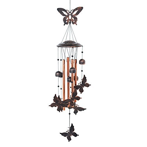 - BLESSEDLAND Butterfly Wind Chime-4 Hollow Aluminum Tubes -5 Wind Bells 7 Butterflies-Wind Chime with S Hook for Indoor and Outdoor