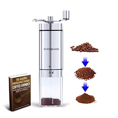 Find Discount Wheroamoz Manual Coffee Grinder,Conical Burr Mill With Adjustable Setting, Portable Ha...