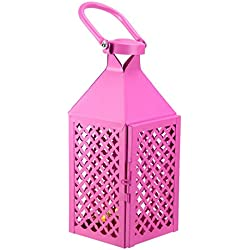 "Kaemingk Fancy Fair Magenta Diamond Patterned Pillar Candle Lantern 10"""