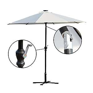 Patio Parasol Paraguas Solar LED al aire libre sombrilla inclinación W/manivela Color Crema