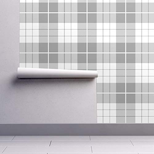 Removable Water-Activated Wallpaper - Plaid Plaid Gray White Plaid Tartan Preppy Gray Pewter Silver White by Peacoquettedesigns - 24in x 144in Smooth Textured Water-Activated Wallpaper Roll (Wallpaper Preppy)