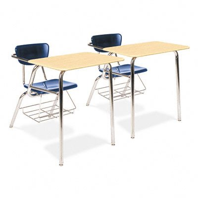 Virco Student Chair Desk with Bookrack, 18 x 24 inch Desk top, Chrome Frame, 5th Grade to Adult, Navy Blue Chair, Pack of 2 (3400BRM-BLU51-BRN38)