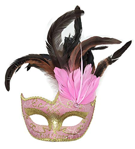 Biruil Feather Masquerade Mask Eyemask Halloween Mardi Gras Cosplay Party Face Mask (Crack Pink)