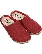 DR.FEET Unisex Natural Wool Felt Open Back Leather Sole > Indoor Slipper