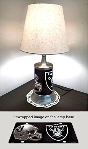 JS Table Lamp with Shade, Oakland Raiders Plate Rolled in on The lamp Base