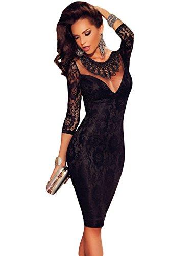 Nuevo elegante encaje negro bodycon vestido club cóctel noche fiesta wear tamaño M UK 8–�?0EU 36–�?8