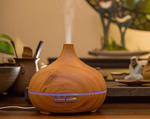 Multi Use Baby Air Humidifiers for Bedroom Home Office, 150ml Wood Grain Essential Oil Diffusers Aroma Humidifier Luxury Lifestyle with Rainbow Color LED Light - Lifestyle Essential Oils
