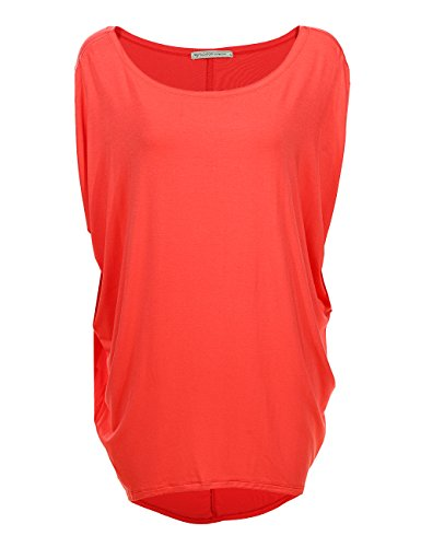 s Size Knitted T Shirt Tops Short Sleeve Off Shoulder Batwing Blouse 1667 (M,Cherry) ()